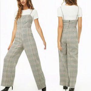 🔴 Forever 21 Plaid Wide Leg Pantsuit Jumpsuit